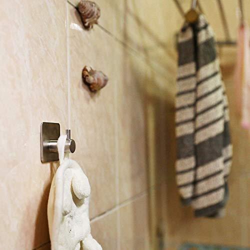 Auxmir Handtuchhaken 5 Stück Handtuchhalter Wandhaken Klebehaken Selbstklebend aus Edelstahl, Ohne Bohren, Rostfrei, Ideal für Bad Toilette Küche Büro, Silber - 7