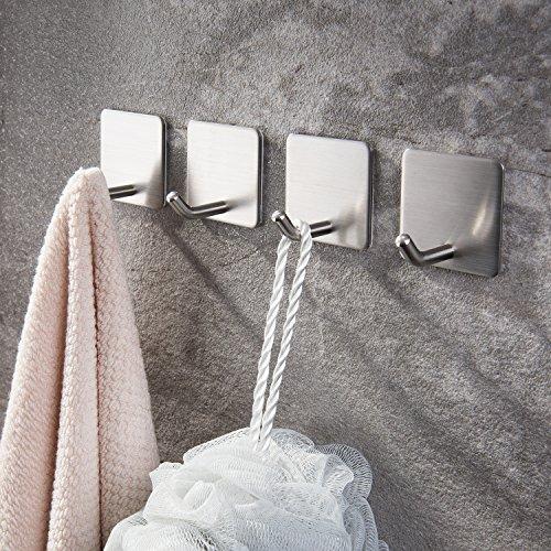 Haken Selbstklebende Handtuchhaken ohne Bohren Wandhaken 4 Stk Klebehaken Edelstahl für Küche und Bad, von Ruicer - 2