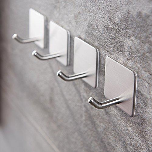 Haken Selbstklebende Handtuchhaken ohne Bohren Wandhaken 4 Stk Klebehaken Edelstahl für Küche und Bad, von Ruicer - 3