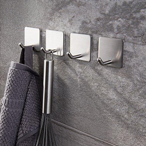 Haken Selbstklebende Handtuchhaken ohne Bohren Wandhaken 4 Stk Klebehaken Edelstahl für Küche und Bad, von Ruicer - 4
