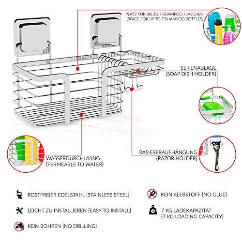 Duschregal Duschablage ohne Bohren aus Edelstahl   Rostfrei Rutschfest   Multifunktions Badregal Shower Caddy Duschkorb mit Magic Sticker   Dusch Regal Baderegal Duschaufbewahrung (Duschregal) - 3
