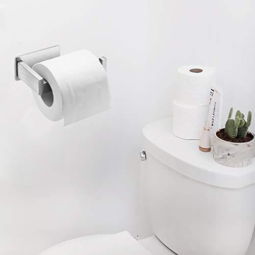 Auxmir Toilettenpapierhalter ohne Bohren, Klopapierhalter Edelstahl Papierhalter Selbstklebend für Badezimmer Toilette Küche, Rostfrei, Silber - 4
