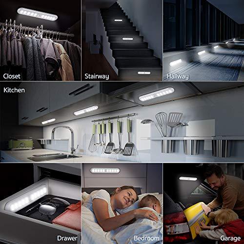 ESR7GEARS Unterbauleuchte Küche - 2er Pack 20-LED Küchenlampe Mit Schalter, 3 Modi und eingebautem Magnet Schranklicht - LED Bewegungsmelder Schrankleuchte für Kleider, Küche, Flur und Notfälle - Weiß - 8